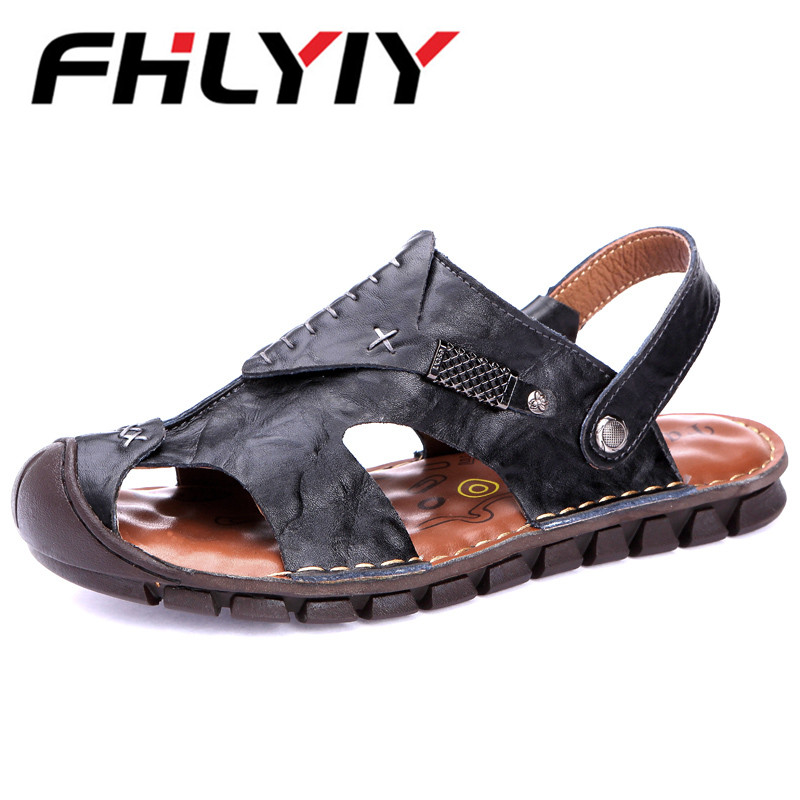New 2018 Summer Men Sandals Brand Genuine Leather Men Beach Sandals Fashion Sandals Hot Sale Male Beach Shoes Zapatos Hombre
