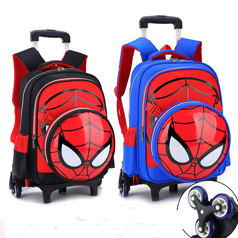 Sacs d'école amovibles pour enfants avec 3 roues sacs à dos Spiderman cartoon enfants garçons cartable sac à dos à roulettes
