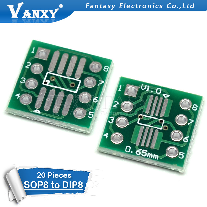 20PCS TSSOP8 SSOP8 SOP8 To DIP8 PCB SOP-8 SOP Transfer Board DIP Pin Board Pitch Adapter
