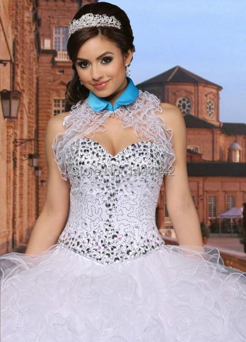 e402c2e12f Barato blanco y azul vestido de quinceañera vestidos de bola con chaquetas  sin mangas cariño rebordear para 15 años vestidos de 15. 5 (2). 5 (1)