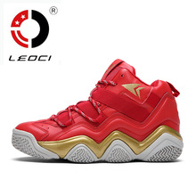 LEOCI 2016 New Professional Basketball Shoes Men High Top Sport Shoes Basketball Trainer Shoes Antislip Athletic Sneakers