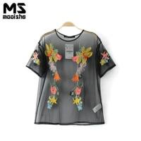 Mooishe Summer Casual Women Embroidered Gauze T Shirt Short Sleeve O Neck Floral Mesh Black Women