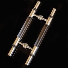 400mm modern simple fashion glass door handles clear crystal stainless steel KTV hotel home bathroom door handles