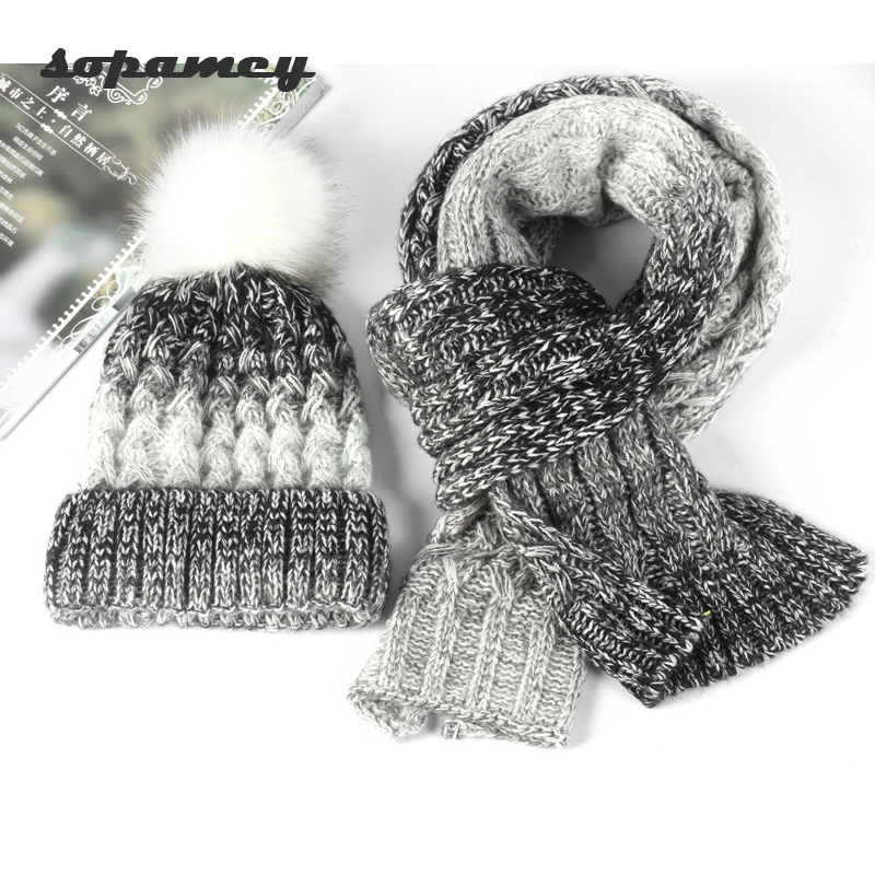 Fashion Knit Winter Scarf Hat Winter Warm Hat For Women Girl Beanies Thick Female Bonnet Scarf Set Women Scarf Comfortable