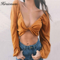 Hirsionsan 2017 Summer Autumn Blouse Shirt Long Sleeve Linen Cross Lace Up Women Tops Sexy Deep