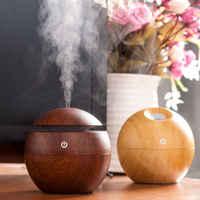 130 ml mini usb de madeira umidificador ar ultra sônico aromaterapia umidificador aroma difusor do óleo essencial com cor led interruptor toque