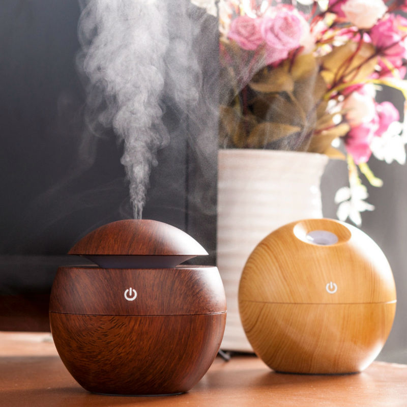130ML Mini USB Wooden Air Humidifier Ultrasonic Aromatherapy Humidifier Aroma Essential Oil Diffuser With Color LED Touch Switch