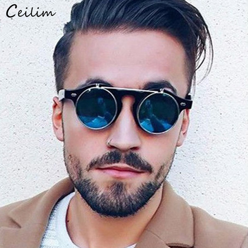 a14e9ff652a Vintage Round Sunglasses Men Brand Designer 2019 New Steampunk Flip Up Sun Glasses  Male Cool Black Shades Unisex Eyewear Oculos