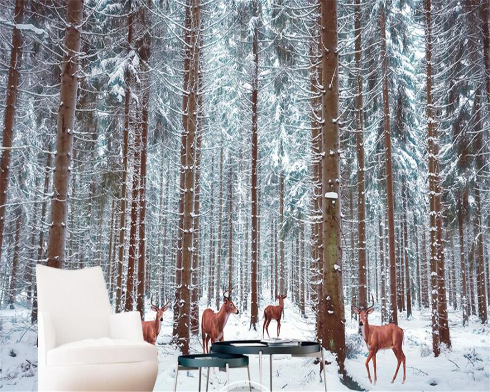 Us 885 41 Offcustom Wall Paper Wall Sticker Beautiful Snowy Forest Deer Large Tv Living Room Room Background Wall 3d Wallpaper Beibehang In