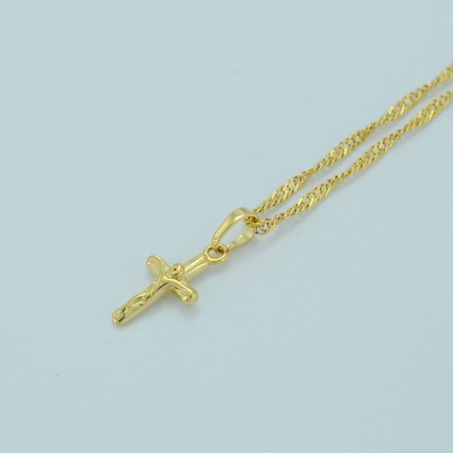 Anniyo Mini Cross Necklaces for Women,Charms Cross Pendant Chain Gold Color Cros