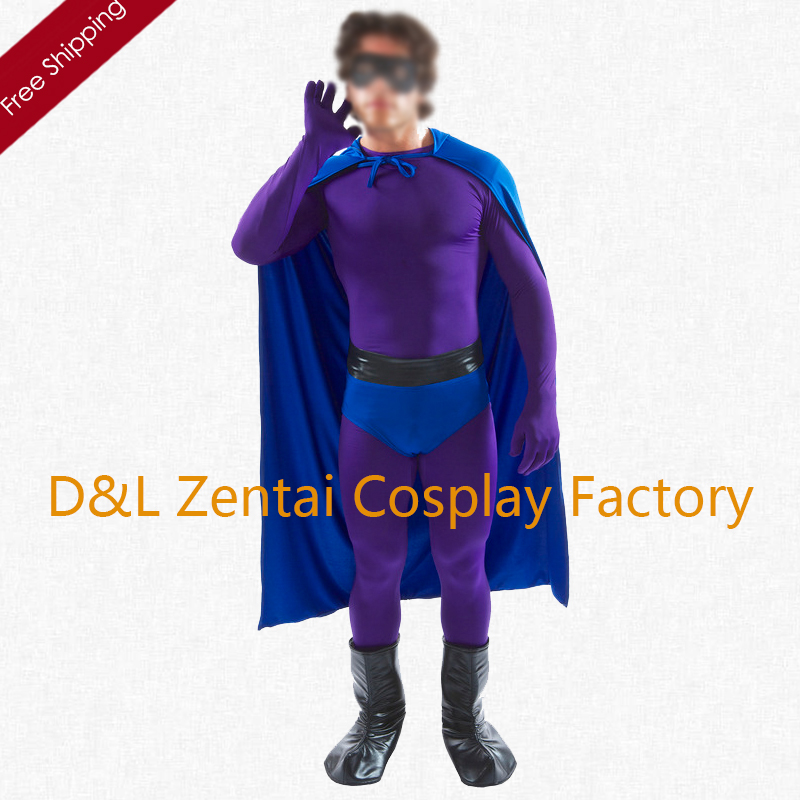 Free Shipping DHL NEW Fancy Dress Men's Purple Spandex Superhero Costume For 2016 Halloween Cosplay Costume SHC1324