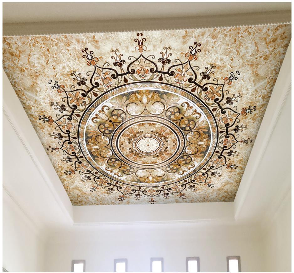 Custom 3D Wallpaper 3d Ceiling Wallpaper Murals European Style Court Style Gold European Style Ceiling Murals Wallpaper Decor