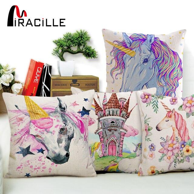 Miracille Stile Cartone Animato Unicorno Modelli di Cotone di Tela Fodere per Cu