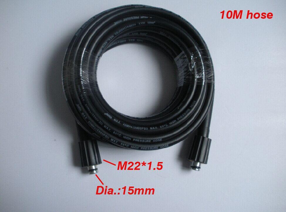 Шайба автомобиля шланг 10 м 400Bar 5800PSI, два концы M22 * 1.5*15 мм, высокого давления шланг брызг воды