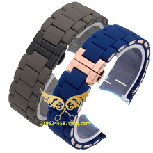 The Silicone Rubber Watchband Rose gold in Gray AR silica gel for 5905 man 23mm 5906 5890 5920 watch band strap