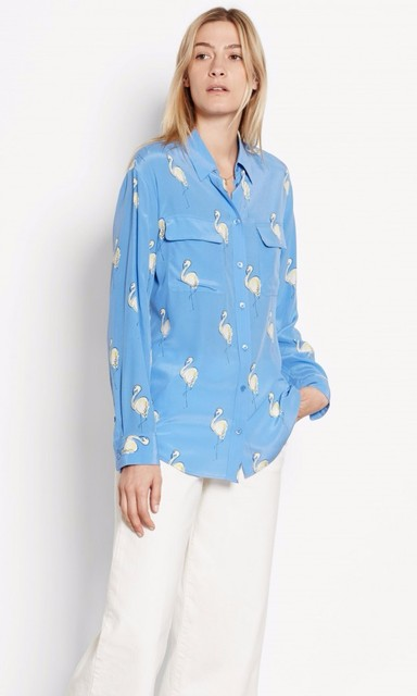 c90a8fc538d758 New EQ 100% real silk ladies  flamingo print pink blue long sleeve women blouse  loose shirt autumn