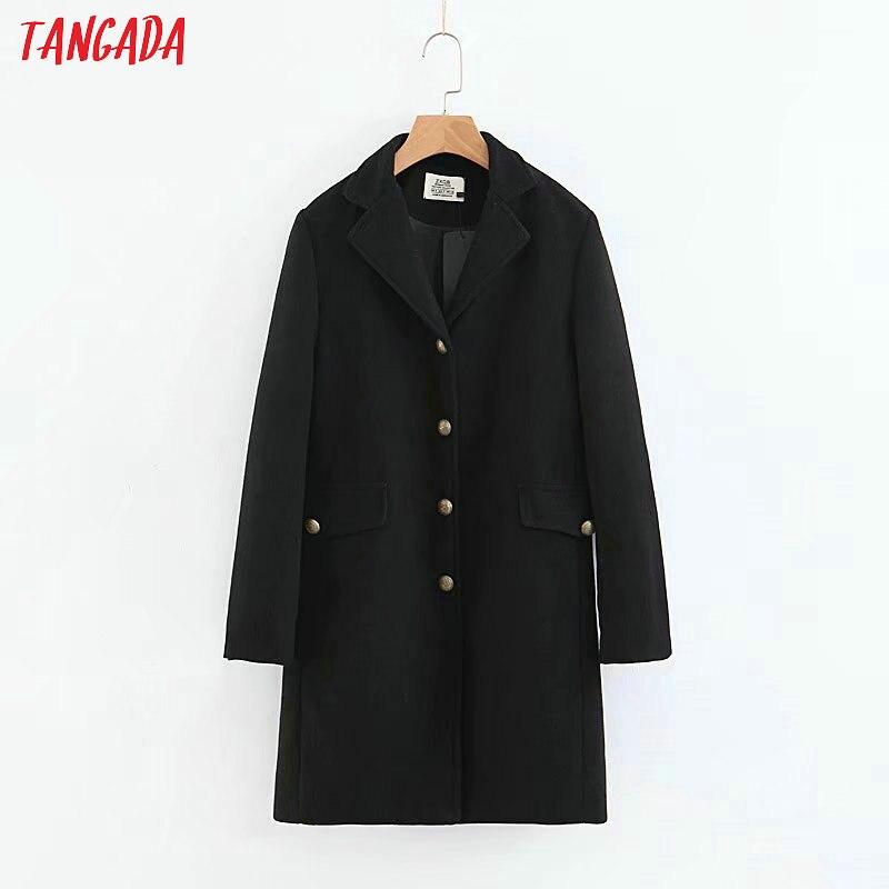 Delle Signore Coreano Tangada Donne Lungo Qb75 Di 2018 Elegante Tasche  Stile Nero Cappotto Inverno Il ... 9168c32f573