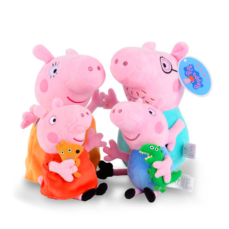 Original 4Pcs Peppa George Pig 30/19cm Stuffed Plush Toy Mother Father Pig Doll Birthday New Year 2018 Gift Toy For Girl Kids 19cm adorable peppa pig dad mom george stuffed plush toy