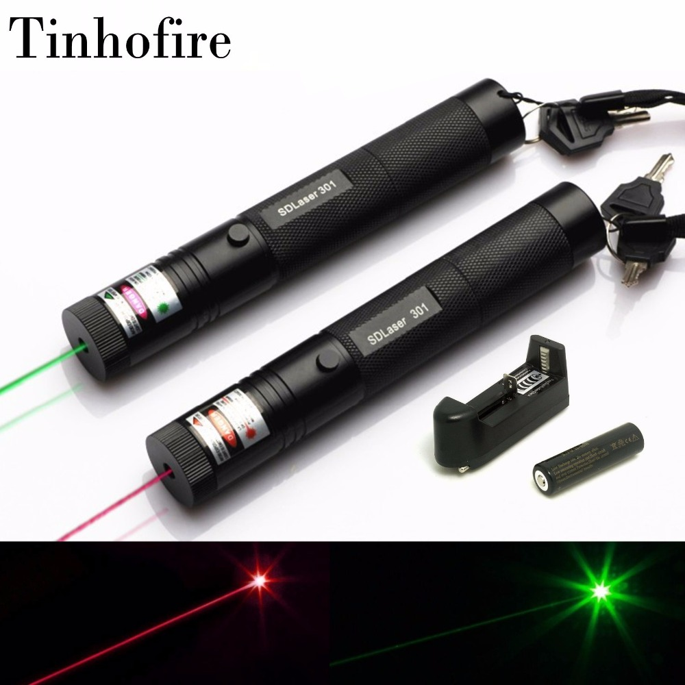 Tinhofire SDLaser 301 5mW 532nm Green 650nm Red Laser Pointer Pen zoomable Lazer Laser With 18650 Battery and Charger sd 210 aluminum 5mw 532nm green laser pointer black 1 x 18650