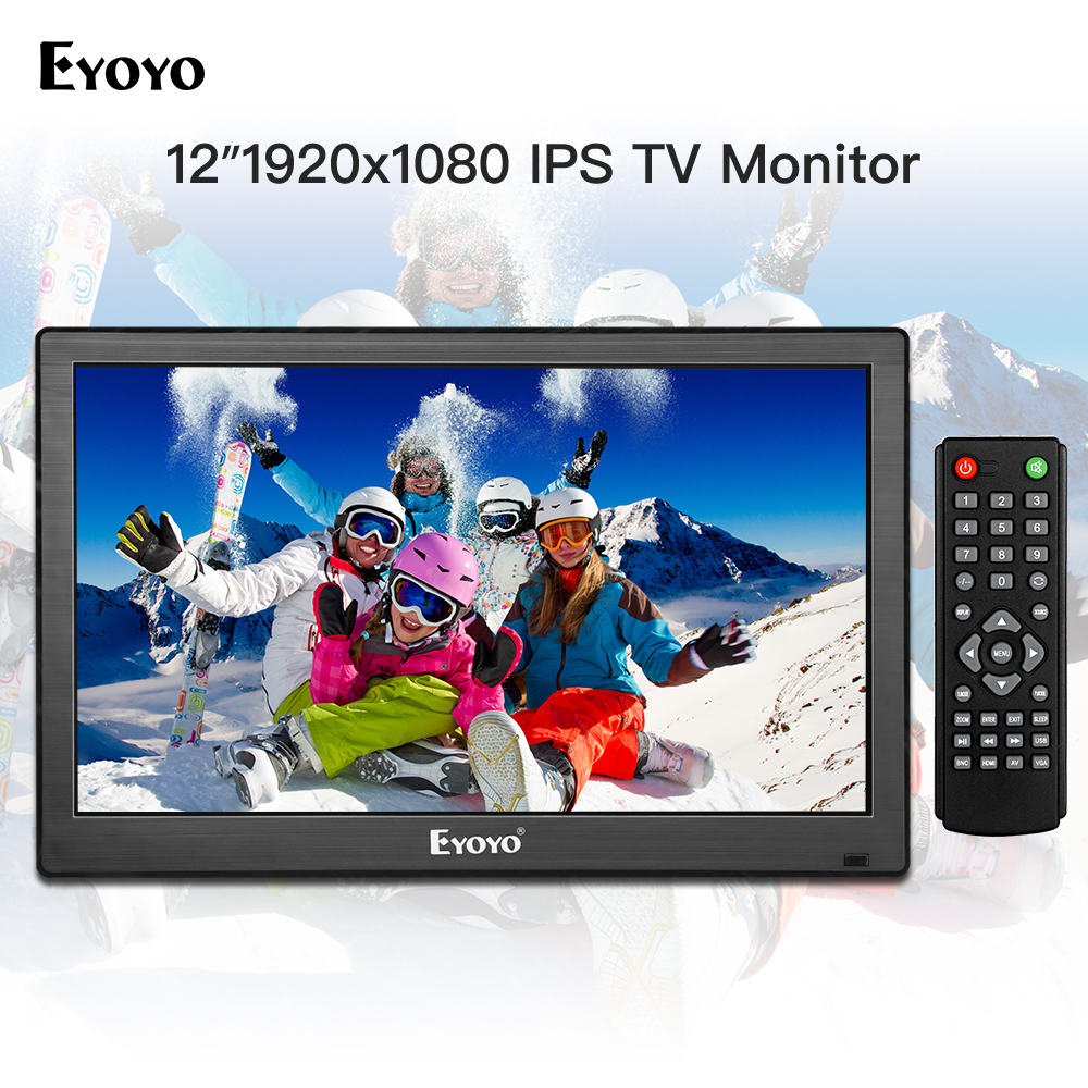 Écran LCD Eyoyo 12 pouces 1920x1080 IPS moniteur TV HDMI, TV de cuisine Portable avec entrée HDMI/VGA/AV/USB et télécommande