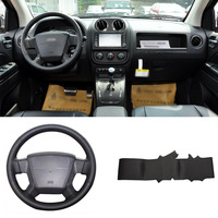 DIY Sewing on PU Leather Steering Wheel Cover Exact Fit For Jeep Compass 2006 2010 Patriot 2007 2010