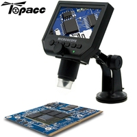 1-600X 3.6MP USB Digital Microscope Portable G600 Continuous Magnifier with 4.3inch HD OLED Display for pcb motherboard repair