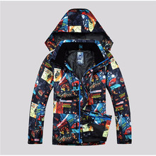 2017 Ski Suit Men Hooded Snow Ski Jacket And Pants Set Waterproof Colorful Printed Warm Mountain skiing Jacket Skiwear