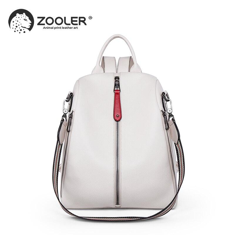 2019 nouveau sac de voyage blanc ZOOLER sac à dos en cuir véritable femmes sacs à dos en cuir véritable mode luxe sac à dos sacs filles # HS209