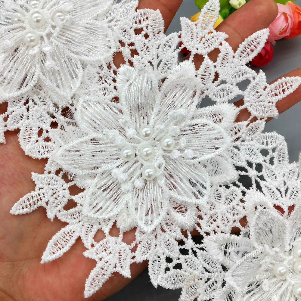 45mm silver gold flower jacquard embroidered ribbon lace applique trimming