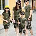 Лето семья рубашка устанавливает камуфляж 2015 мода с коротким рукавом армия зеленый футболка новое семейство подбора цветов рубашки Большой размер