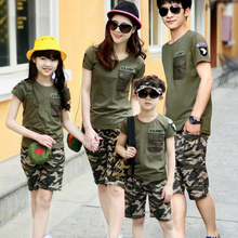 2018 Summer Family Shirt Sets Camouflage Fashion Short-Sleeve Army Green T-shirt New Family Matching Shirts Plus Size