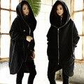 2016 Algodão de Lã Grossa Hoodies Camisola Longa Fake-dois Colarinho Longwomen Zíper Com Capuz Casaco Com Capuz de Inverno das Mulheres
