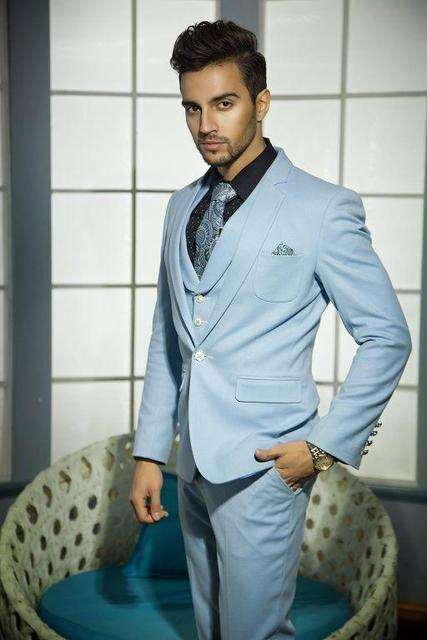 Custom Made One Button Sky Blue Groom Tuxedos Groomsmen Mens Wedding ...