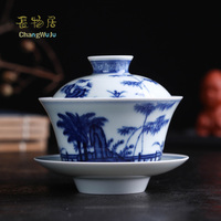 Changwuju в Цзиндэчжэнь изысканные Чашки и блюдца синий и белый китайский чайная чашка миска с крышкой, что был стрельбы в дрова печи