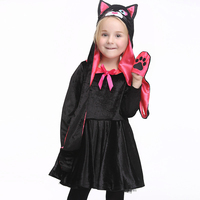 Kids Halloween Carnival Cat Cosplay Costumes With Headwear Girl Pleuche Dress Party Fancy Ballet Stage Cat