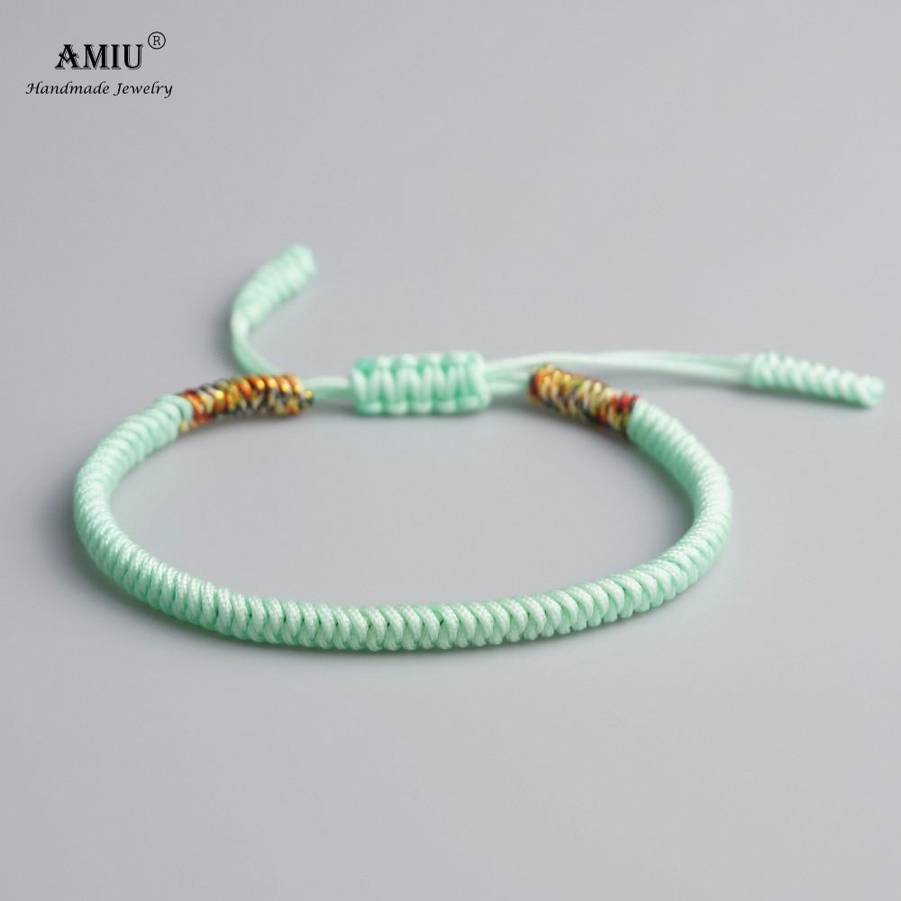AMIU Tibetan Buddhist Lucky Charm Tibetan Bracelets & Bangles For Women Men Handmade Knot Spearmint Rope Christmas Gift Bracelet