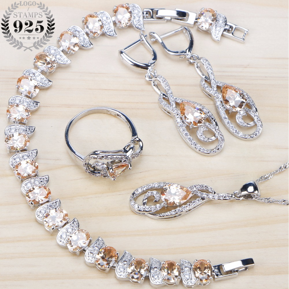 5f64ac7bf Bridal Cubic Zirconia Jewelry Sets Ring 925 Sterling Silver Jewelry  Bracelet Earrings For Women Wedding Necklace Set Gifts Box