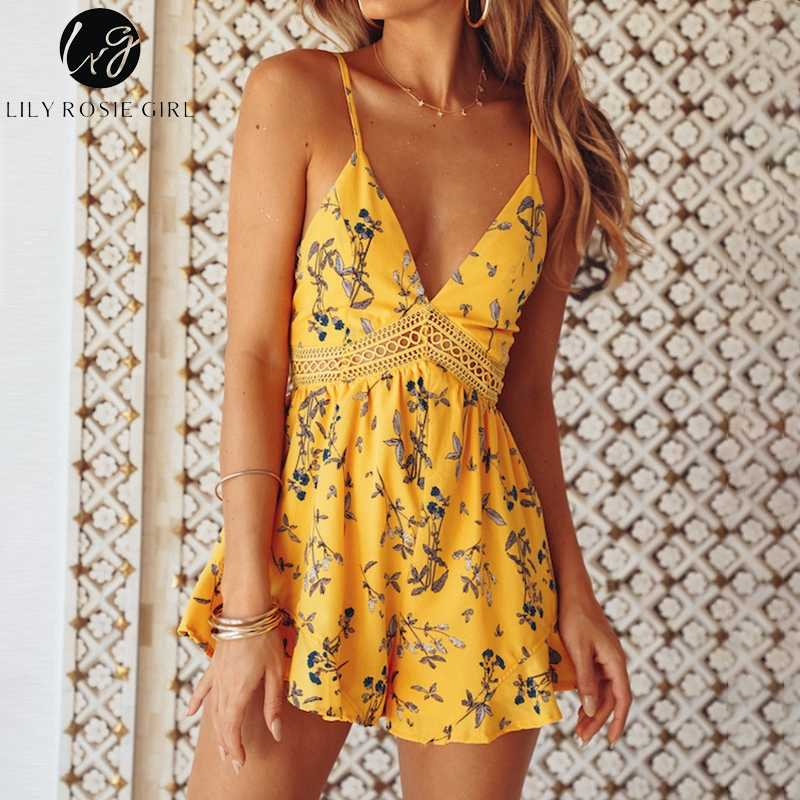 ed041037c882 ... Lily Rosie Girl Yellow Lace V Neck Boho Women Playsuit Spaghetti Strap  Beach Summer Playsuit Print ...