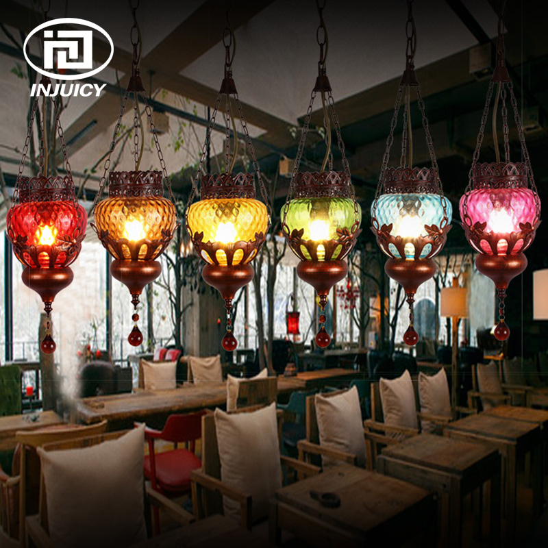 Loft Vintage Bohemia Style Coffee Tree Colorful Glass Pendant Lamp Mediterranean Restaurant Bar Shop Window Pendant Lights браслеты bohemia style браслет