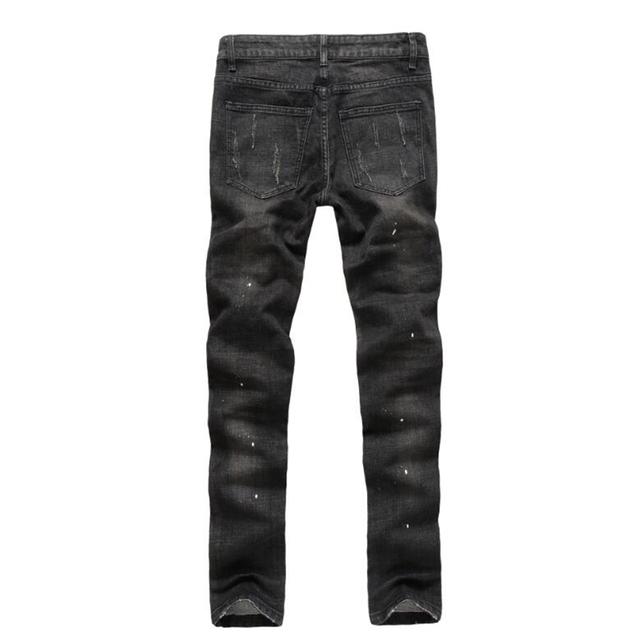 Fashion vintage hole dot jeans men summer slim straight biker jeans for men streerwear hip hop men pants