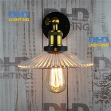 Retro Nordic LOFT Industrial glass shade Wall Lamp Single lamp fixture Living Room Restaurant Bedroom industrial brass Wall Lamp