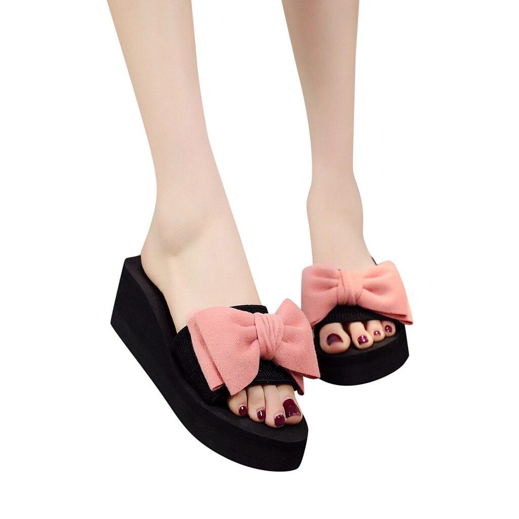 Women Bow Summer Sandals Slipper Indoor Outdoor Flip-flops Beach Shoes New Fashion Female Casual Flower Slipper Chanclas Mujer