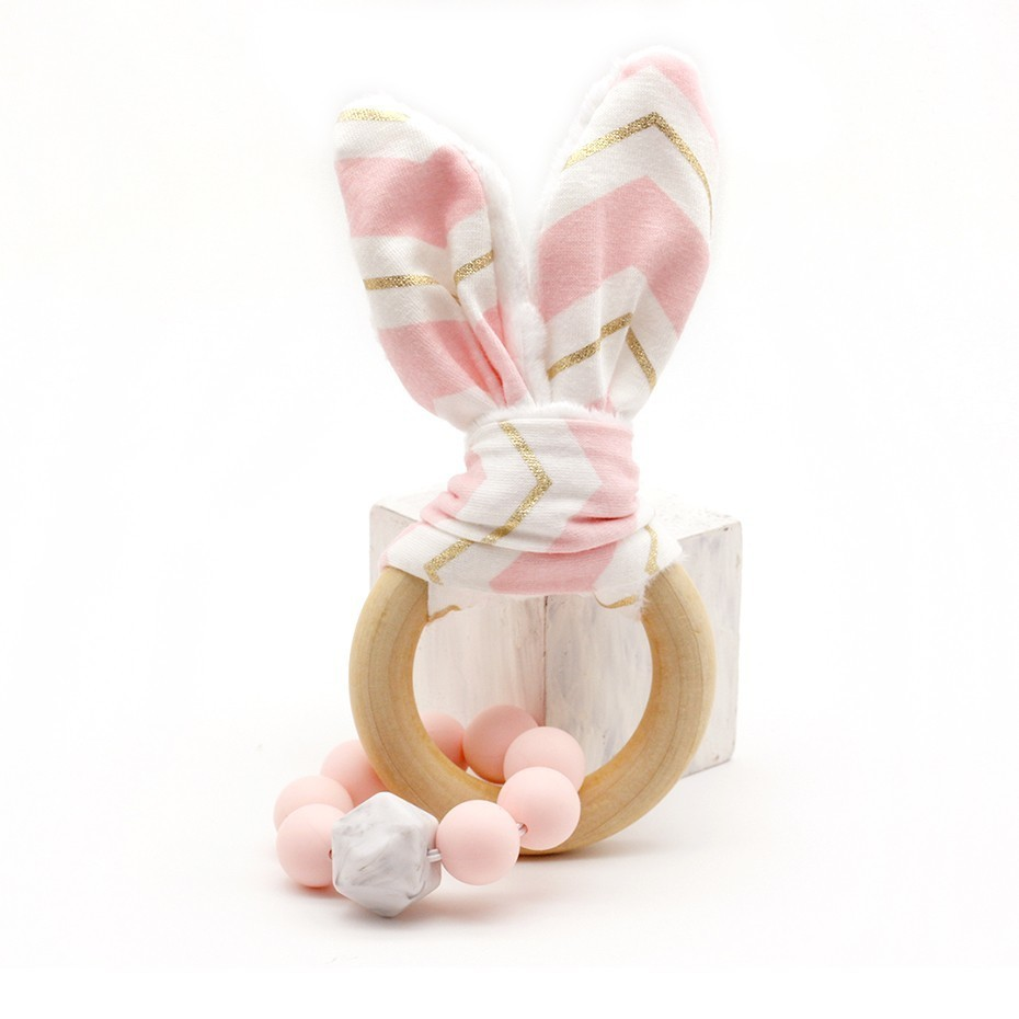 Newborn Toy Eco-Friendly Montessori Toy Organic Bunny Ear Wooden Bracelets Baby Teether Baby Teething Toy Accessories