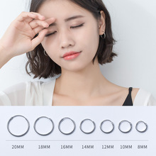 PONYKISS Trendy 100% 925 Sterling Silver New Round Chic Hoop Earrings Women Summer Party Simple Accessory Birthday Delicate Gift