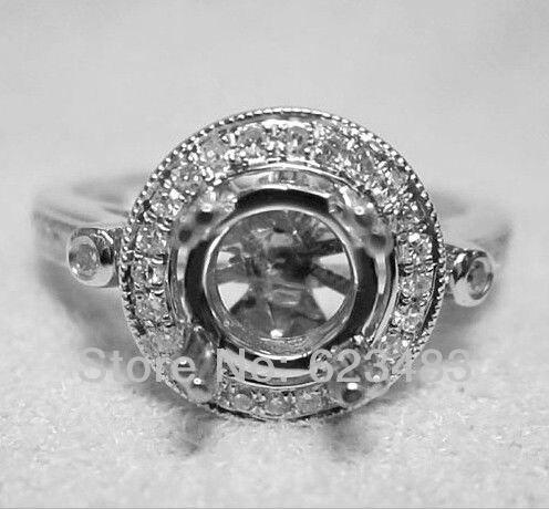 Твердое 14 k белое золото 6 мм круглый разрез натуральный алмаз полукрепление кольцо