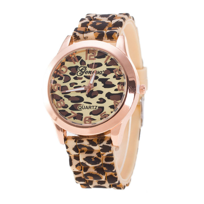 Fashion Unisex Geneva Women Watch Leopard Printing Dial Strap Silicone Jelly Gel Ladies Quartz Wrist Watch Gift Clock Relogio #W