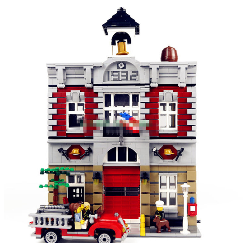 Diy City Street Model House Building Kits Blocks Fire Bricks Educational Compatible With legoingly 10197 toys for children 774pcs city fire station firefighter playmobil diy building blocks educational bricks toys compatible with legoingly city