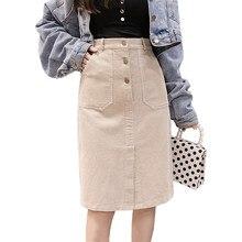 6759a69e31ed2 Elegant Streetwear Corduroy Skirts Womens Autumn Winter High Waist Button Midi  Skirt Plus Size Harajuku Ladies Skirt jupe femme