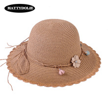 MATTYDOLIE Straw Hat Lady Flowers Wide-brimmed Foldable sun Summer Outdoor Vacation Sunscreen Beach