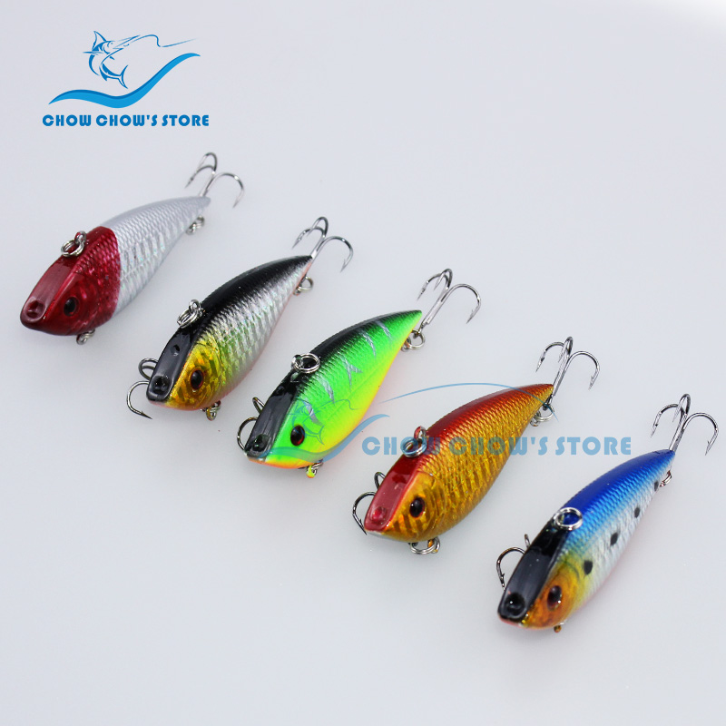 5PCS / Lot ბრენდი CC Fishing Sinking VIB Lure Japan 12g 7cm Vibration Vibe Rattle Hooks Baits Leurre 5 Colour